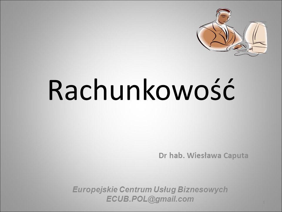 Rachunkowość Dr hab. Wiesława Caputa 1 Europejskie Centrum Usług Biznesowych ECUB.POL@gmail.com