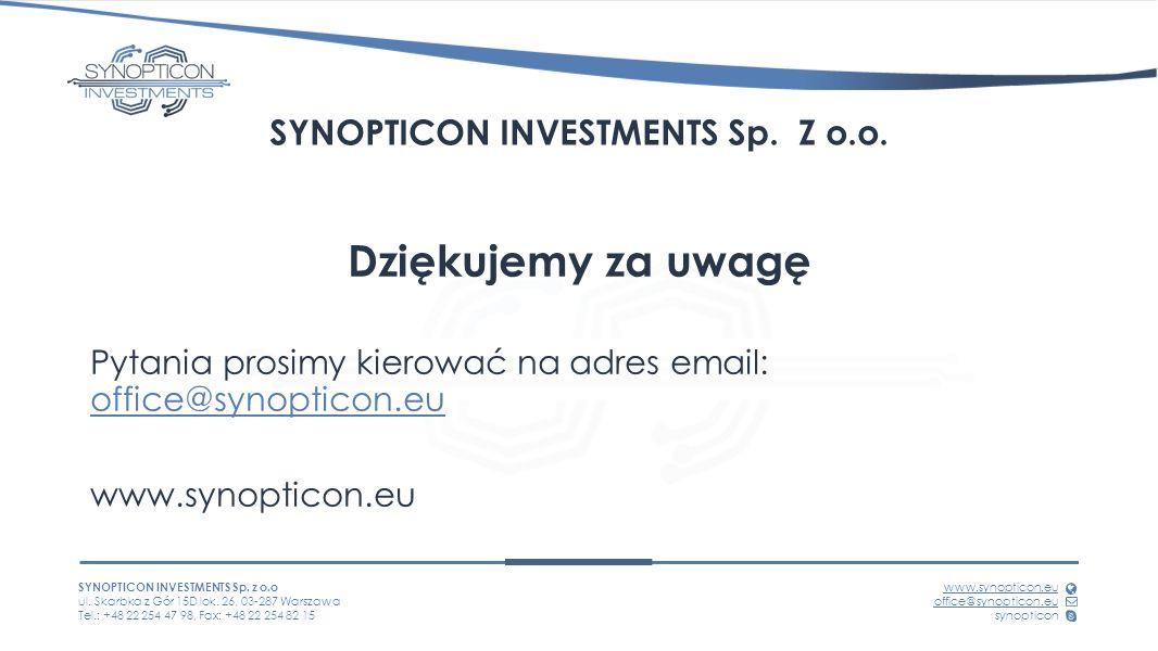 SYNOPTICON INVESTMENTS Sp. z o.o ul. Skarbka z Gór 15D lok.
