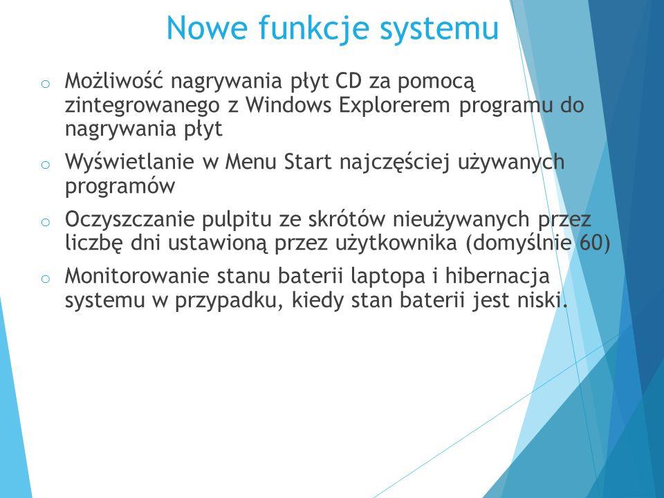 Nowe funkcje systemu o Możliwość nagrywania płyt CD za pomocą zintegrowanego z Windows Explorerem programu do nagrywania płyt o Wyświetlanie w Menu St