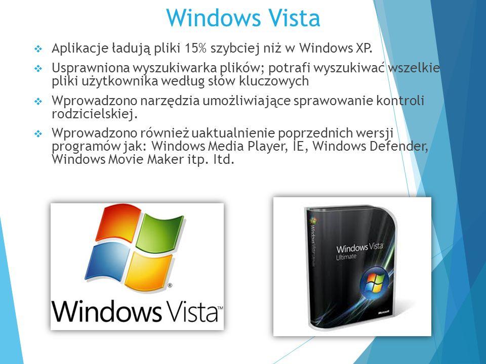 Windows Vista  Aplikacje ładują pliki 15% szybciej niż w Windows XP.  Usprawniona wyszukiwarka plików; potrafi wyszukiwać wszelkie pliki użytkownika