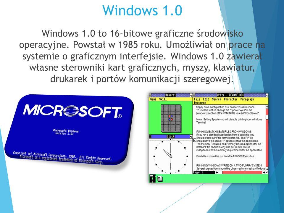 Windows 1.0 Windows 1.0 to 16-bitowe graficzne środowisko operacyjne. Powstał w 1985 roku. Umożliwiał on prace na systemie o graficznym interfejsie. W