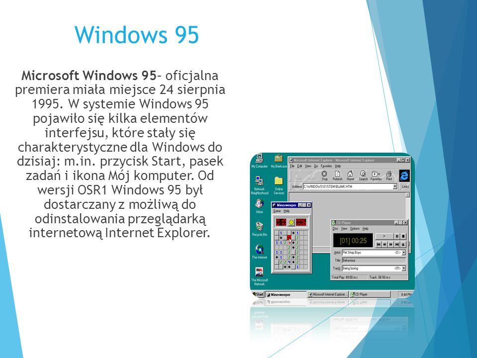 Windows 95 Microsoft Windows 95– oficjalna premiera miała miejsce 24 sierpnia 1995. W systemie Windows 95 pojawiło się kilka elementów interfejsu, któ