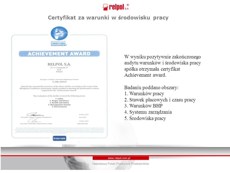 Certyfikat za warunki w środowisku pracy W wyniku pozytywnie zakończonego audytu warunków i środowiska pracy spółka otrzymała certyfikat Achievement award.