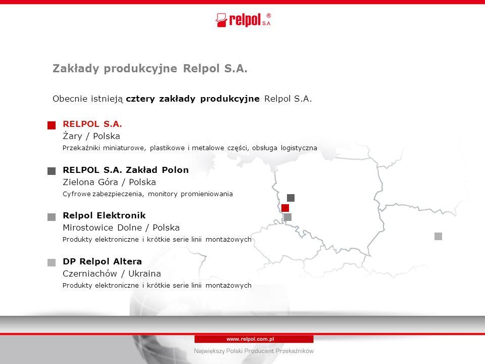 Zakłady produkcyjne Relpol S.A. Obecnie istnieją cztery zakłady produkcyjne Relpol S.A.