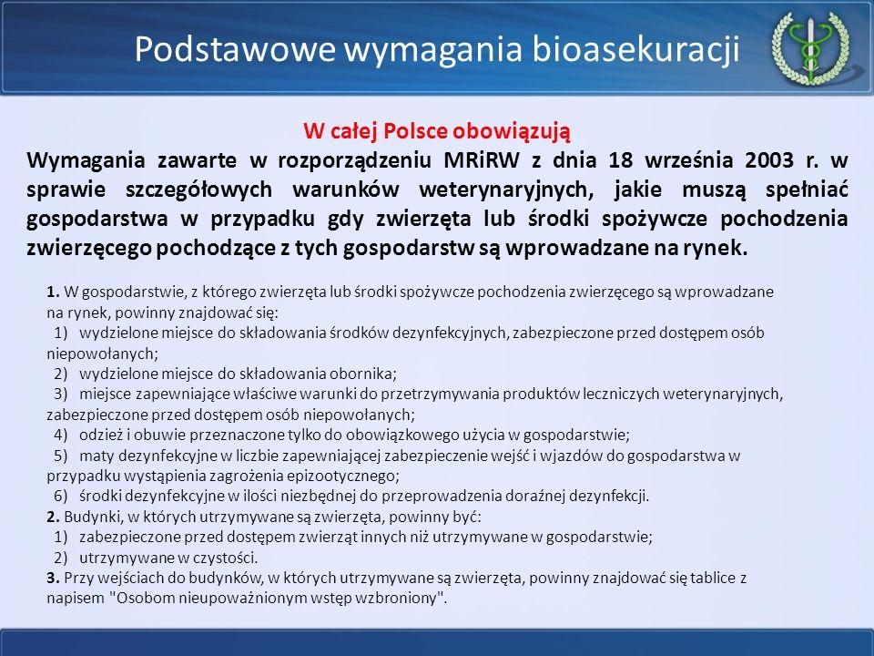 Podstawowe wymagania bioasekuracji W całej Polsce obowiązują Wymagania zawarte w rozporządzeniu MRiRW z dnia 18 września 2003 r.