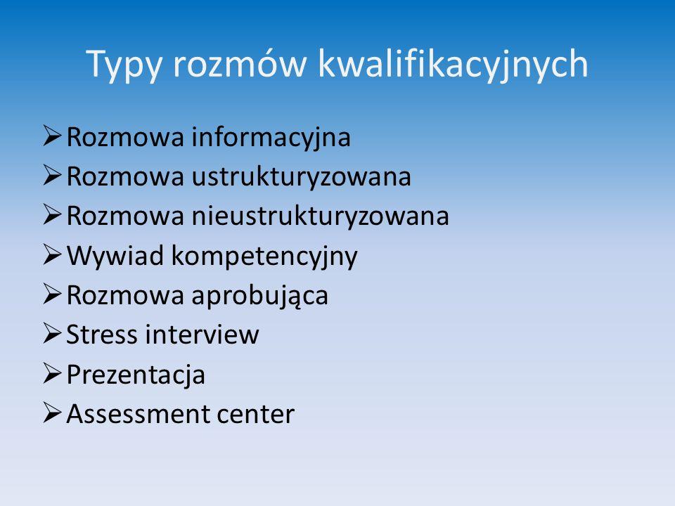 Typy rozmów kwalifikacyjnych  Rozmowa informacyjna  Rozmowa ustrukturyzowana  Rozmowa nieustrukturyzowana  Wywiad kompetencyjny  Rozmowa aprobują