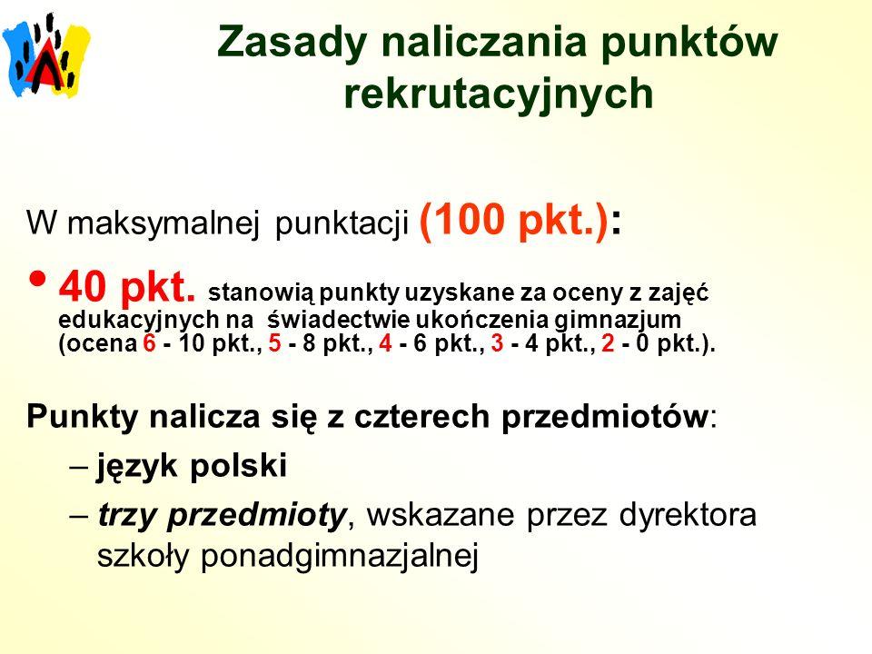 Zasady naliczania punktów rekrutacyjnych W maksymalnej punktacji (100 pkt.): 40 pkt.