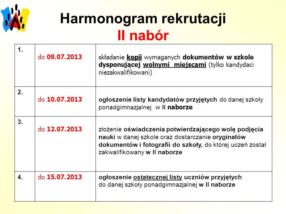 Harmonogram rekrutacji II nabór 1.