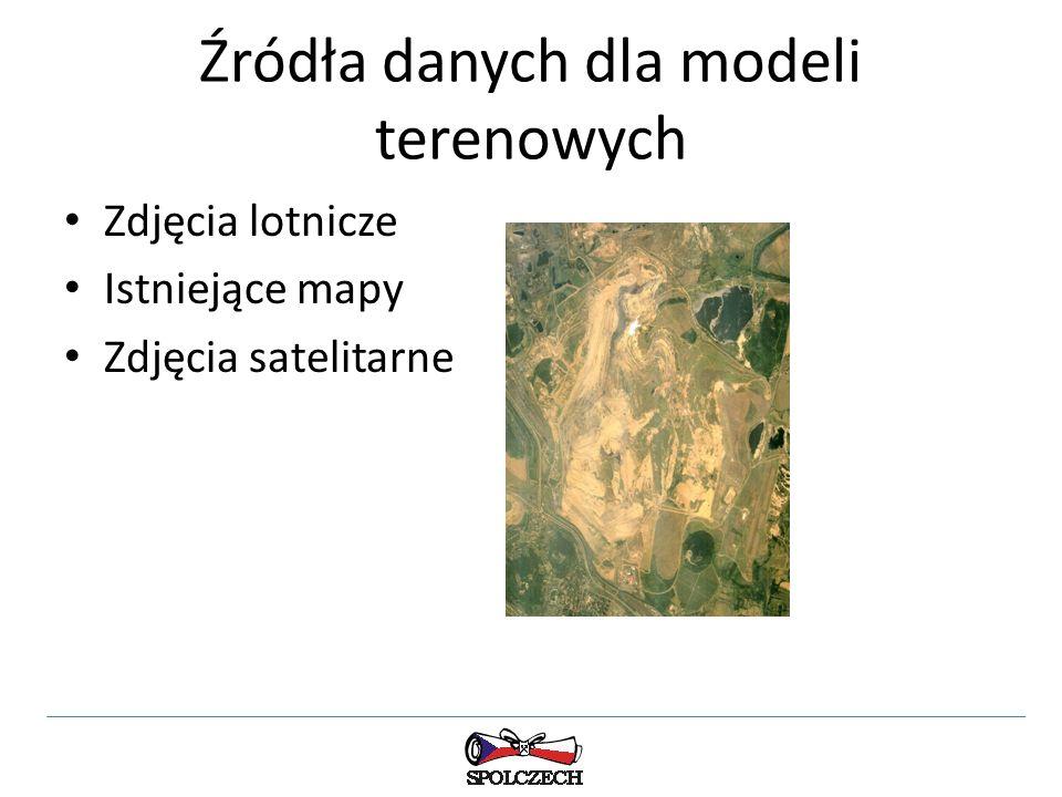 Źródła danych dla modeli terenowych Zdjęcia lotnicze Istniejące mapy Zdjęcia satelitarne