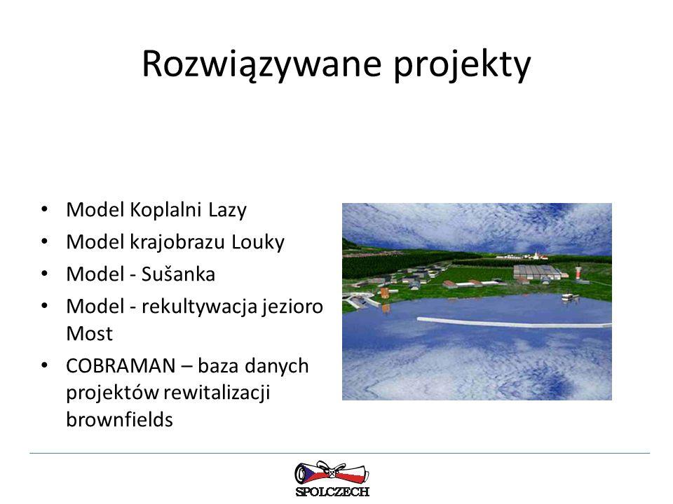 Rozwiązywane projekty Model Koplalni Lazy Model krajobrazu Louky Model - Sušanka Model - rekultywacja jezioro Most COBRAMAN – baza danych projektów rewitalizacji brownfields