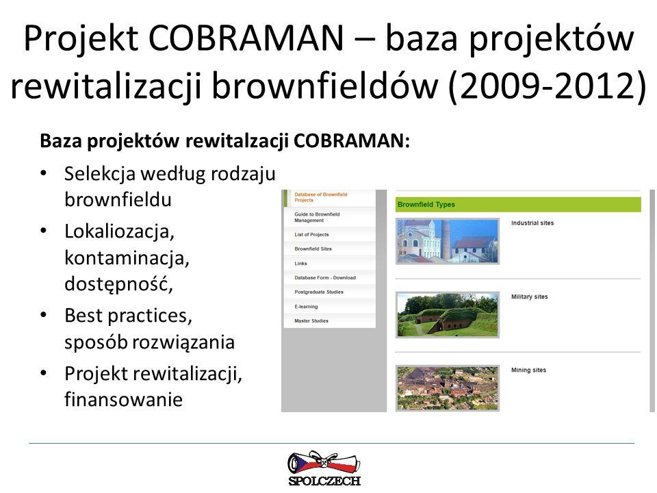 Projekt COBRAMAN – baza projektów rewitalizacji brownfieldów (2009-2012) Baza projektów rewitalzacji COBRAMAN: Selekcja według rodzaju brownfieldu Lokaliozacja, kontaminacja, dostępność, Best practices, sposób rozwiązania Projekt rewitalizacji, finansowanie