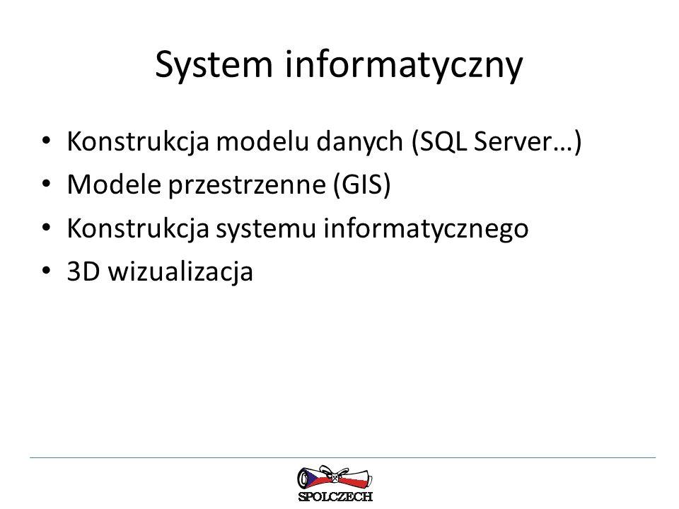 System informatyczny Konstrukcja modelu danych (SQL Server…) Modele przestrzenne (GIS) Konstrukcja systemu informatycznego 3D wizualizacja