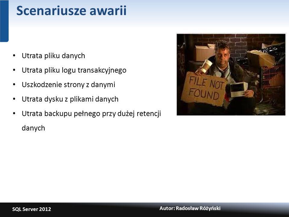 SQL Server 2012 Autor: Radosław Różyński Scenariusze awarii Utrata pliku danych Utrata pliku logu transakcyjnego Uszkodzenie strony z danymi Utrata dysku z plikami danych Utrata backupu pełnego przy dużej retencji danych