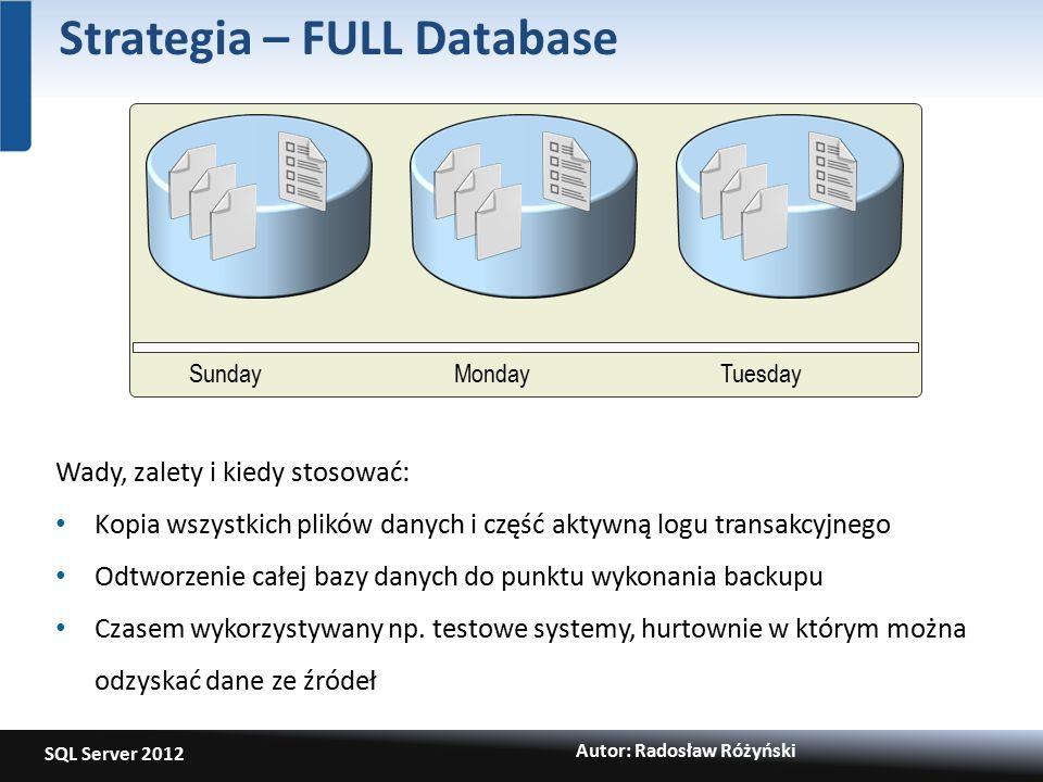 SQL Server 2012 Autor: Radosław Różyński Strategia – FULL Database SundayMondayTuesday Wady, zalety i kiedy stosować: Kopia wszystkich plików danych i część aktywną logu transakcyjnego Odtworzenie całej bazy danych do punktu wykonania backupu Czasem wykorzystywany np.