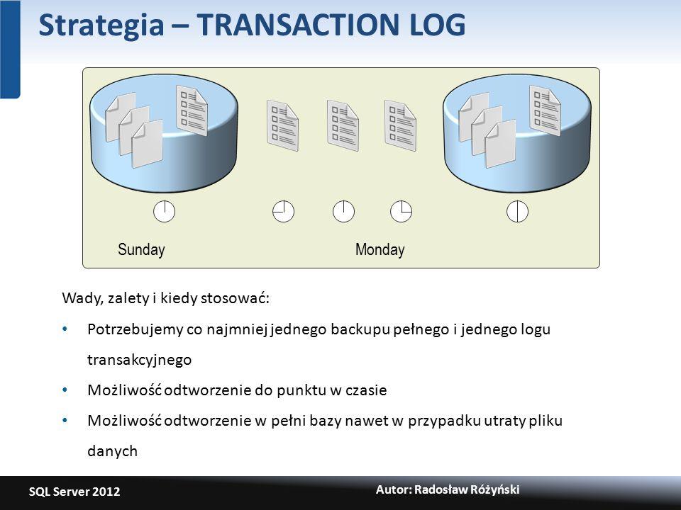 SQL Server 2012 Autor: Radosław Różyński Strategia – TRANSACTION LOG SundayMonday Wady, zalety i kiedy stosować: Potrzebujemy co najmniej jednego backupu pełnego i jednego logu transakcyjnego Możliwość odtworzenie do punktu w czasie Możliwość odtworzenie w pełni bazy nawet w przypadku utraty pliku danych