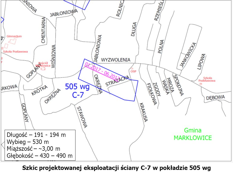 Szkic projektowanej eksploatacji ściany C-7 w pokładzie 505 wg Długość – 191 - 194 m Wybieg – 530 m Miąższość – ~ 3,00 m Głębokość – 430 – 490 m