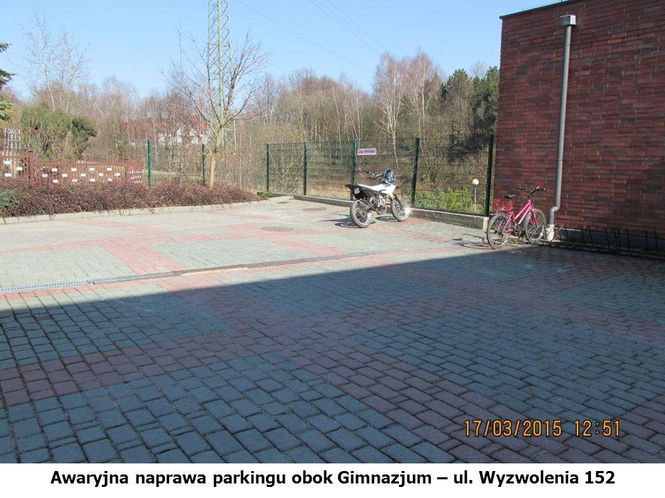Awaryjna naprawa parkingu obok Gimnazjum – ul. Wyzwolenia 152