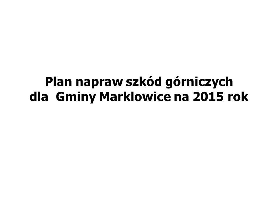 Plan napraw szkód górniczych dla Gminy Marklowice na 2015 rok