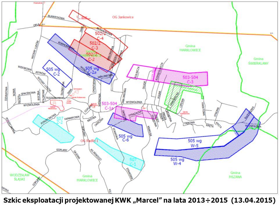 """Szkic eksploatacji projektowanej KWK """"Marcel na lata 2013÷2015 (13.04.2015)"""