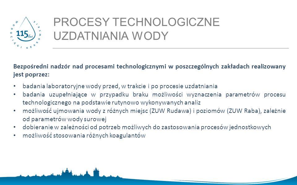 PROCESY TECHNOLOGICZNE UZDATNIANIA WODY MASA - Mobilna Automatyczna Stacja Analityczna Bezpośredni nadzór nad procesami technologicznymi w poszczególnych zakładach realizowany jest poprzez: badania laboratoryjne wody przed, w trakcie i po procesie uzdatniania badania uzupełniające w przypadku braku możliwości wyznaczenia parametrów procesu technologicznego na podstawie rutynowo wykonywanych analiz możliwość ujmowania wody z różnych miejsc (ZUW Rudawa) i poziomów (ZUW Raba), zależnie od parametrów wody surowej dobieranie w zależności od potrzeb możliwych do zastosowania procesów jednostkowych możliwość stosowania różnych koagulantów