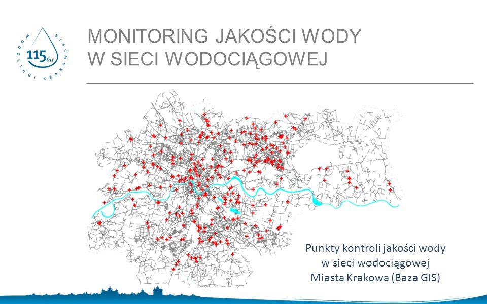 MONITORING JAKOŚCI WODY W SIECI WODOCIĄGOWEJ Punkty kontroli jakości wody w sieci wodociągowej Miasta Krakowa (Baza GIS)