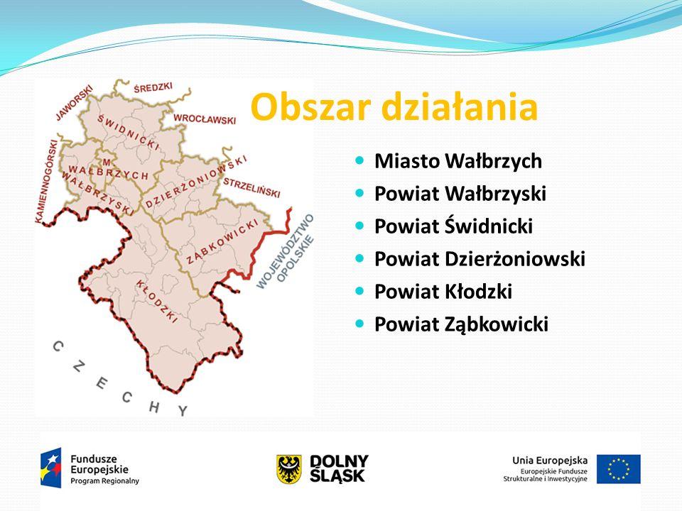 Miasto Wałbrzych Powiat Wałbrzyski Powiat Świdnicki Powiat Dzierżoniowski Powiat Kłodzki Powiat Ząbkowicki Obszar działania