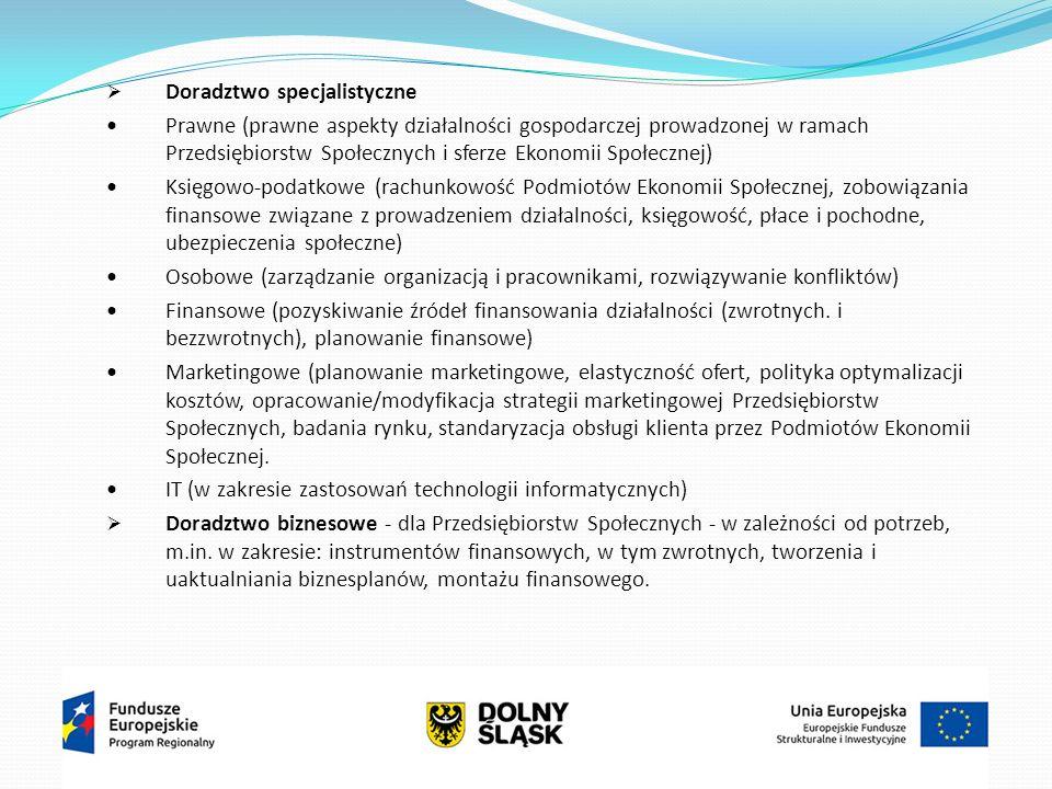  Doradztwo specjalistyczne Prawne (prawne aspekty działalności gospodarczej prowadzonej w ramach Przedsiębiorstw Społecznych i sferze Ekonomii Społecznej) Księgowo-podatkowe (rachunkowość Podmiotów Ekonomii Społecznej, zobowiązania finansowe związane z prowadzeniem działalności, księgowość, płace i pochodne, ubezpieczenia społeczne) Osobowe (zarządzanie organizacją i pracownikami, rozwiązywanie konfliktów) Finansowe (pozyskiwanie źródeł finansowania działalności (zwrotnych.