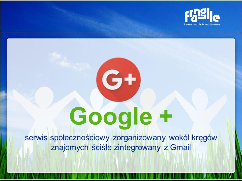 Google + serwis społecznościowy zorganizowany wokół kręgów znajomych ściśle zintegrowany z Gmail