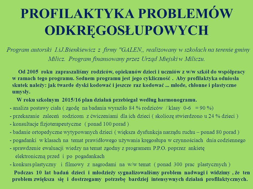"""PROFILAKTYKA PROBLEMÓW ODKRĘGOSŁUPOWYCH Program autorski I.iJ.Bienkiewicz z firmy GALEN"""" realizowany w szkołach na terenie gminy Milicz."""