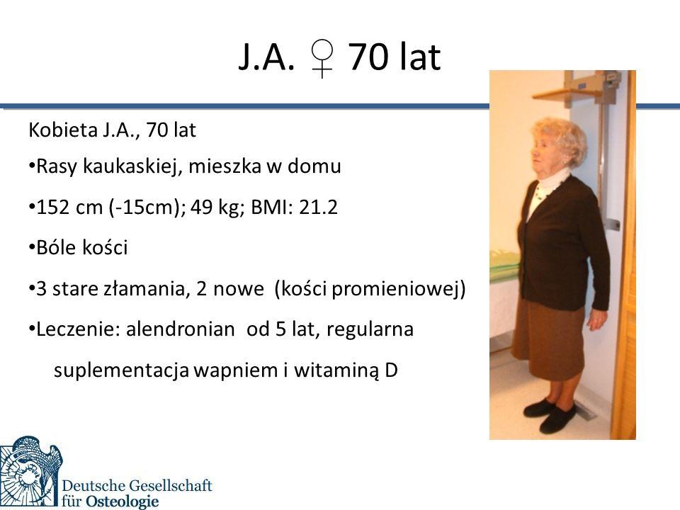 J.A. ♀ 70 lat Kobieta J.A., 70 lat Rasy kaukaskiej, mieszka w domu 152 cm (-15cm); 49 kg; BMI: 21.2 Bóle kości 3 stare złamania, 2 nowe (kości promien