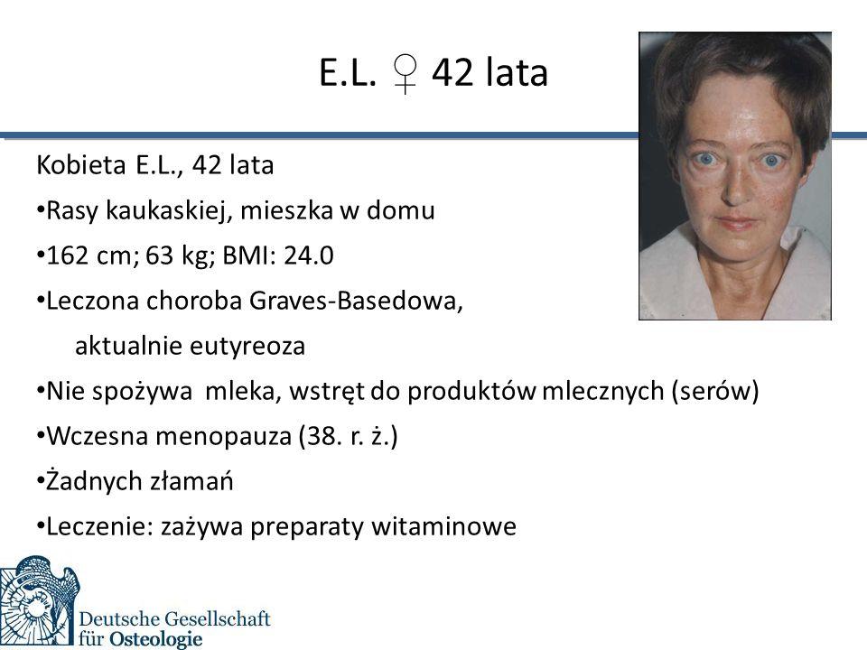 E.L. ♀ 42 lata Kobieta E.L., 42 lata Rasy kaukaskiej, mieszka w domu 162 cm; 63 kg; BMI: 24.0 Leczona choroba Graves-Basedowa, aktualnie eutyreoza Nie