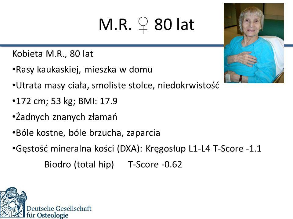 M.R. ♀ 80 lat Kobieta M.R., 80 lat Rasy kaukaskiej, mieszka w domu Utrata masy ciała, smoliste stolce, niedokrwistość 172 cm; 53 kg; BMI: 17.9 Żadnych