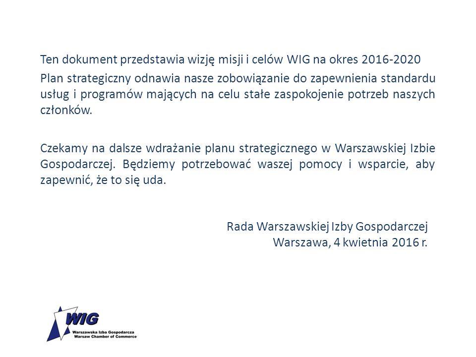 Ten dokument przedstawia wizję misji i celów WIG na okres 2016-2020 Plan strategiczny odnawia nasze zobowiązanie do zapewnienia standardu usług i prog