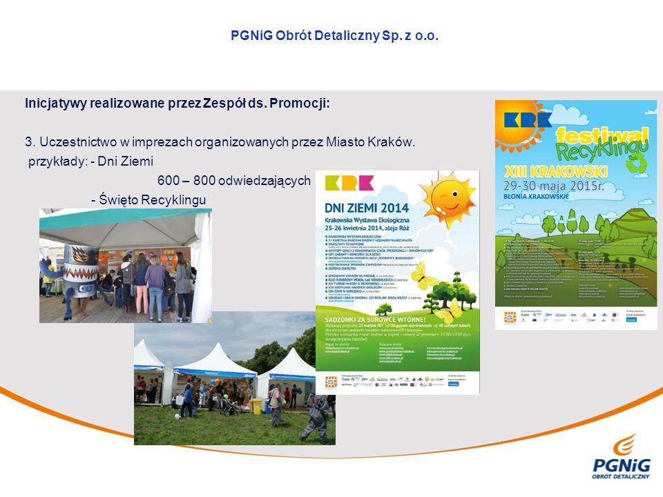 Inicjatywy realizowane przez Zespół ds. Promocji: 3. Uczestnictwo w imprezach organizowanych przez Miasto Kraków. przykłady: - Dni Ziemi 600 – 800 odw