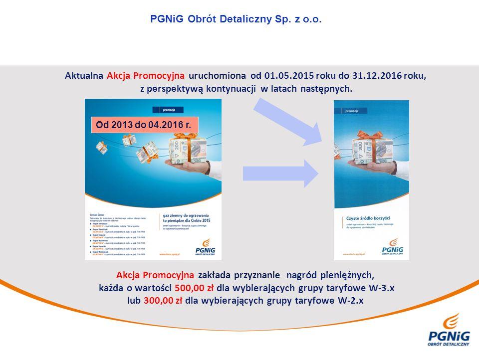 PGNiG Obrót Detaliczny Sp. z o.o. Aktualna Akcja Promocyjna uruchomiona od 01.05.2015 roku do 31.12.2016 roku, z perspektywą kontynuacji w latach nast