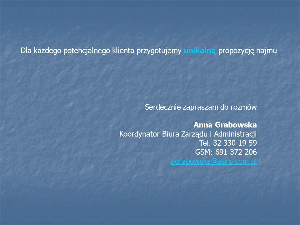 Dla każdego potencjalnego klienta przygotujemy unikalną propozycję najmu Serdecznie zapraszam do rozmów Anna Grabowska Koordynator Biura Zarządu i Administracji Tel.
