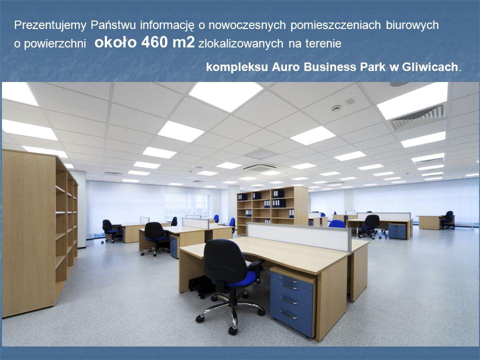 Prezentujemy Państwu informację o nowoczesnych pomieszczeniach biurowych o powierzchni około 460 m2 zlokalizowanych na terenie kompleksu Auro Business Park w Gliwicach.
