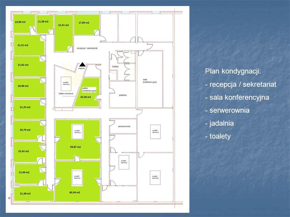Plan kondygnacji: - recepcja / sekretariat - sala konferencyjna - serwerownia - jadalnia - toalety