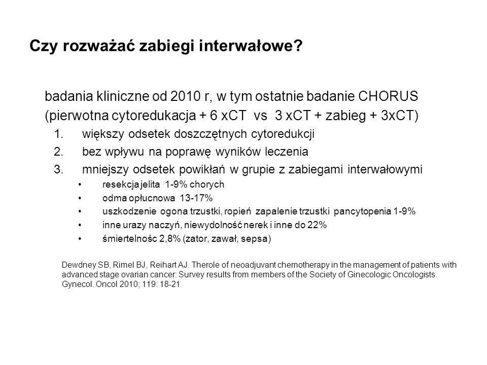 Czy rozważać zabiegi interwałowe? badania kliniczne od 2010 r, w tym ostatnie badanie CHORUS (pierwotna cytoredukacja + 6 xCT vs 3 xCT + zabieg + 3xCT