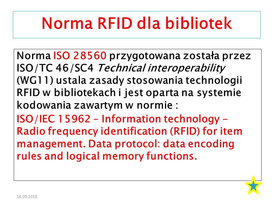 18.09.2016 Norma ISO 28560 przygotowana została przez ISO/TC 46/SC4 Technical interoperability (WG11) ustala zasady stosowania technologii RFID w bibliotekach i jest oparta na systemie kodowania zawartym w normie : ISO/IEC 15962 – Information technology - Radio frequency identification (RFID) for item management.