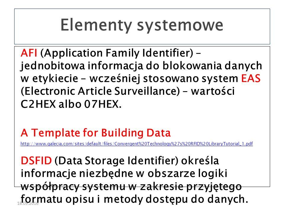 18.09.2016 AFI (Application Family Identifier) – jednobitowa informacja do blokowania danych w etykiecie – wcześniej stosowano system EAS (Electronic Article Surveillance) – wartości C2HEX albo 07HEX.