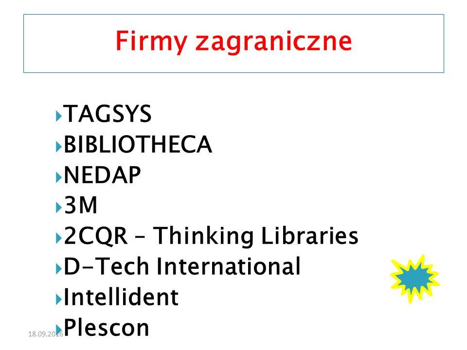 18.09.2016  TAGSYS  BIBLIOTHECA  NEDAP  3M  2CQR – Thinking Libraries  D-Tech International  Intellident  Plescon Firmy zagraniczne