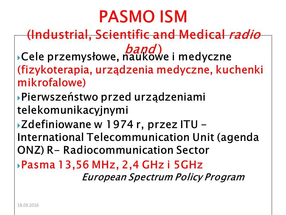 18.09.2016  Cele przemysłowe, naukowe i medyczne (fizykoterapia, urządzenia medyczne, kuchenki mikrofalowe)  Pierwszeństwo przed urządzeniami telekomunikacyjnymi  Zdefiniowane w 1974 r, przez ITU - International Telecommunication Unit (agenda ONZ) R- Radiocommunication Sector  Pasma 13,56 MHz, 2,4 GHz i 5GHz European Spectrum Policy Program PASMO ISM (Industrial, Scientific and Medical radio band )