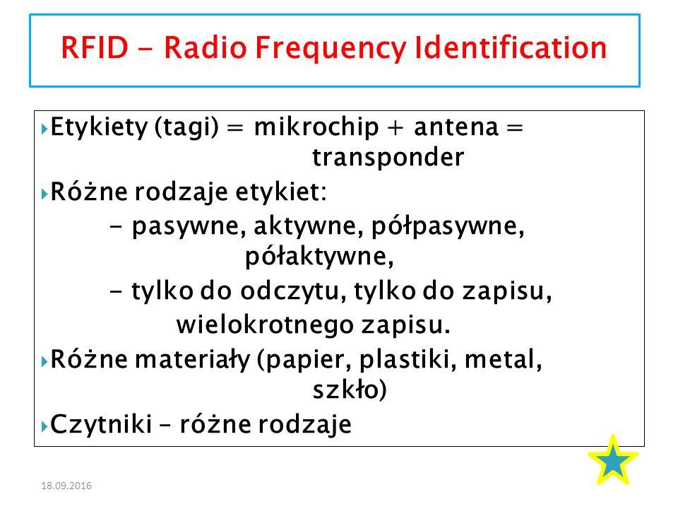 18.09.2016  Etykiety (tagi) = mikrochip + antena = transponder  Różne rodzaje etykiet: - pasywne, aktywne, półpasywne, półaktywne, - tylko do odczytu, tylko do zapisu, wielokrotnego zapisu.