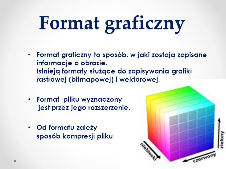 Format graficzny Format graficzny to sposób, w jaki zostają zapisane informacje o obrazie. Istnieją formaty służące do zapisywania grafiki rastrowej (