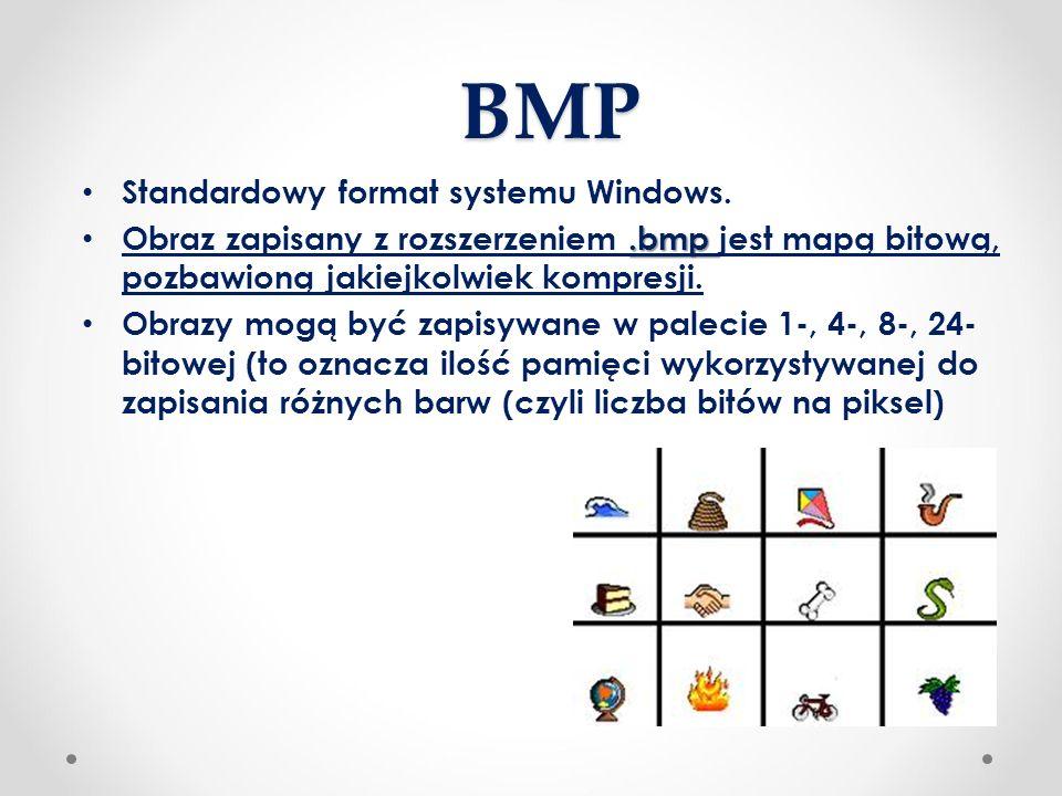 BMP Standardowy format systemu Windows..bmp Obraz zapisany z rozszerzeniem.bmp jest mapą bitową, pozbawioną jakiejkolwiek kompresji. Obrazy mogą być z