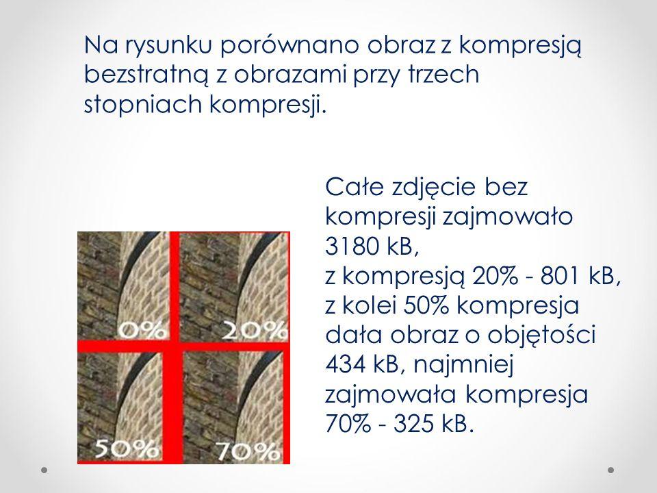 Na rysunku porównano obraz z kompresją bezstratną z obrazami przy trzech stopniach kompresji. Całe zdjęcie bez kompresji zajmowało 3180 kB, z kompresj