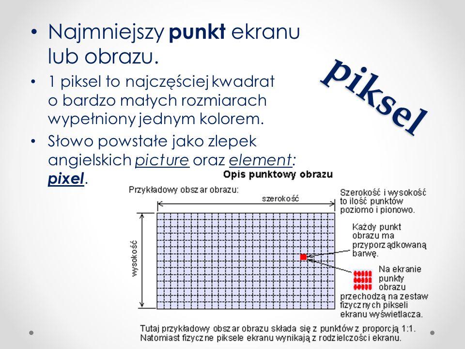 piksel Najmniejszy punkt ekranu lub obrazu. 1 piksel to najczęściej kwadrat o bardzo małych rozmiarach wypełniony jednym kolorem. Słowo powstałe jako