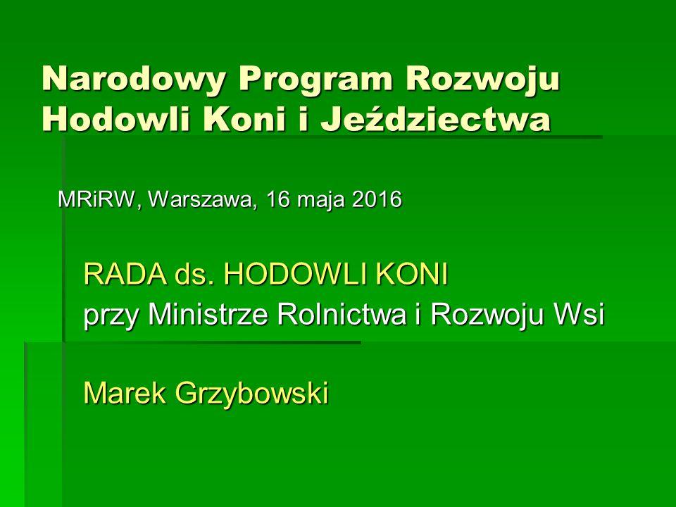 Narodowy Program Rozwoju Hodowli Koni i Jeździectwa MRiRW, Warszawa, 16 maja 2016 RADA ds.