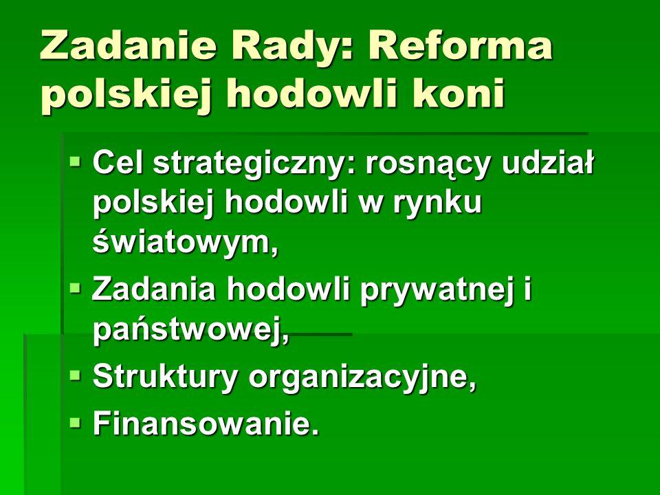 Zadanie Rady: Reforma polskiej hodowli koni  Cel strategiczny: rosnący udział polskiej hodowli w rynku światowym,  Zadania hodowli prywatnej i państwowej,  Struktury organizacyjne,  Finansowanie.